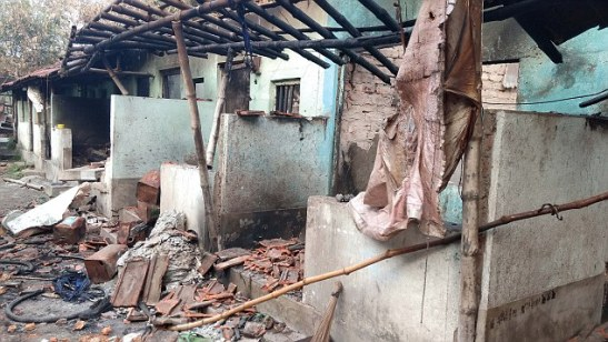 Charred remains of the households in Dhulagarh.