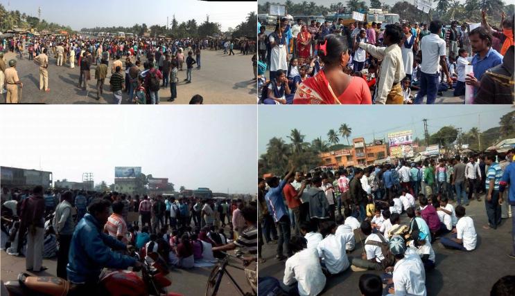 nh-6-blocked-at-tehatta-howrah-for-saraswati-puja