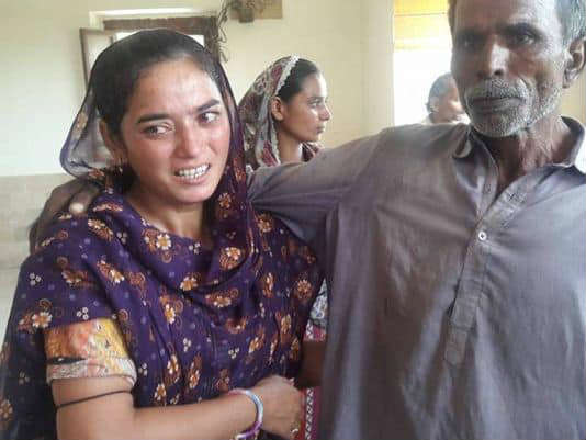 Forcibly converted, Anila Dhawan, who is Hindu, with her father outside the court house in Hyderabad after being freed. (Photo: Courtesy of Ramesh Gupta)