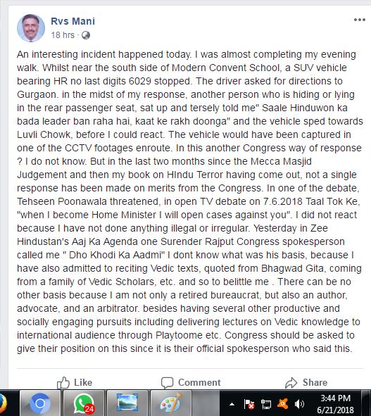 Mani FB posting