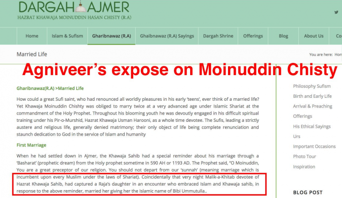 Don't visit Amjer Sharif of Moinu Chisti who was a pedophile, Hindu