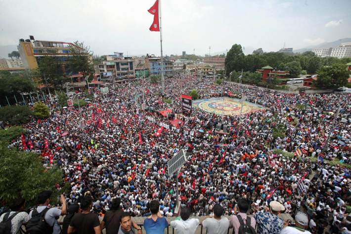 Tens of thousands of people from Kathmandu Valley gathered in maitighar Mandala to protest the Guthi Bill. Image Courtesy: Nepali Times.